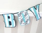 Boy Birth Announcement ITS A BOY banner - Baby Stripes and Damask in French Paris Style