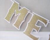 MERRY CHRiSTMAS Banner - Gold Glitter on White