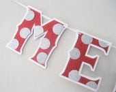 MERRY CHRiSTMAS Banner or Christmas Tree Garland - Polka Dots in Silver and Red Glitter