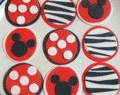 Minnie Mouse or Mickey Mouse Zebra Birthday CUPCAKE toppers