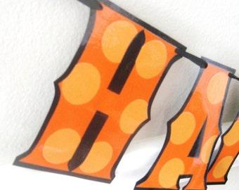Halloween Birthday Banner, Orange Birthday Banner, Orange and Black Birthday Decor, Halloween Birthday Party, Polka Dot Birthday Banner