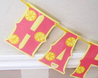 Pink Lemonade HAPpY BiRTHDAY Banner - Lemon Slices