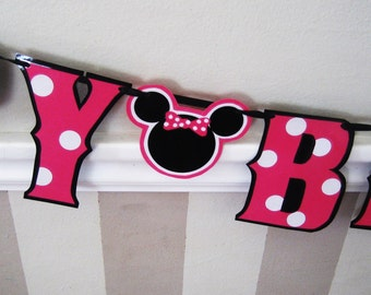 Minnie Mouse Birthday Banner, Minnie Mouse Birthday Party Banner, Minnie Mouse HAPPY BIRTHDAY Banner, Custom Minnie Mouse Banner, Hot Pink