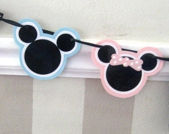 Twin Boy and Girl Mouse HAPPY BIRTHDAY Banner - Pink and Blue Polka Dots