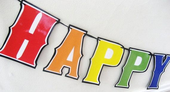 HAPPY BIRTHDAY Banner - RAINBOW solids