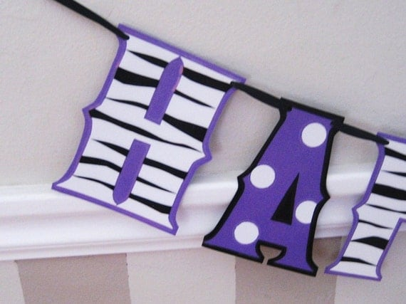 Clearance SALE - Was 22 now 10 - HAPPY BIRTHDAY Banner - Purple ZeBRA Print and Polka Dots