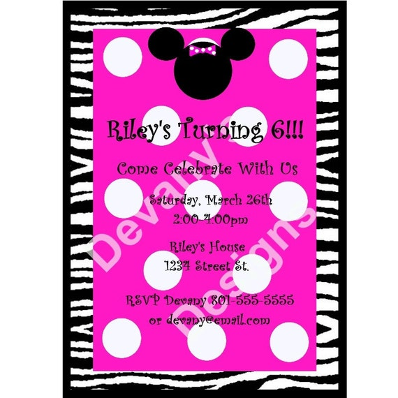 Black and White Zebra and Hot Pink Minnie Mouse Printable BiRTHDAY INViTATION