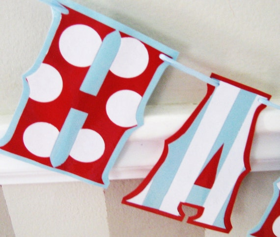 HAPpY BiRTHDAY banner - Red, White, and Baby Blue STRiPES and POLkA DOtS - Regular size
