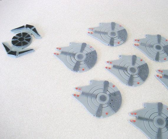 Millennium Falcon Cupcake Toppers, Star Wars Cupcake Toppers, Tye Fighters, Star Wars Cupcake Toppers, Star Wars Party, Star Wars Birthday