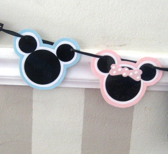 Clearance SALE - Was 24 Now 10 - Twin Boy and Girl Mouse HAPPY BIRTHDAY Banner - Pink and Blue Polka Dots