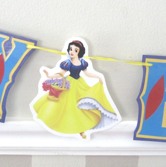 Snow White Birthday Banner, Snow White Party Supplies, Snow White Party Decor, Snow White Banner, Custom Snow White Birthday Supplies