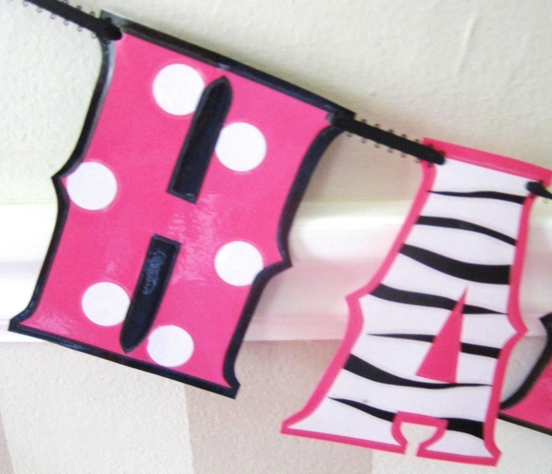 Zebra Print Birthday Banner Hot Pink Polka Dot Birthday