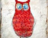 The red owl - mixed media encaustic original
