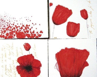 Poppies - collection of 4 red  poppy illstrations prints or note cards