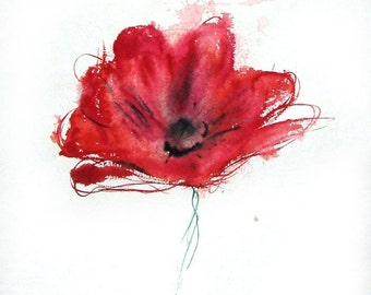 Heart Squeeze  - red poppy illustration print or note card