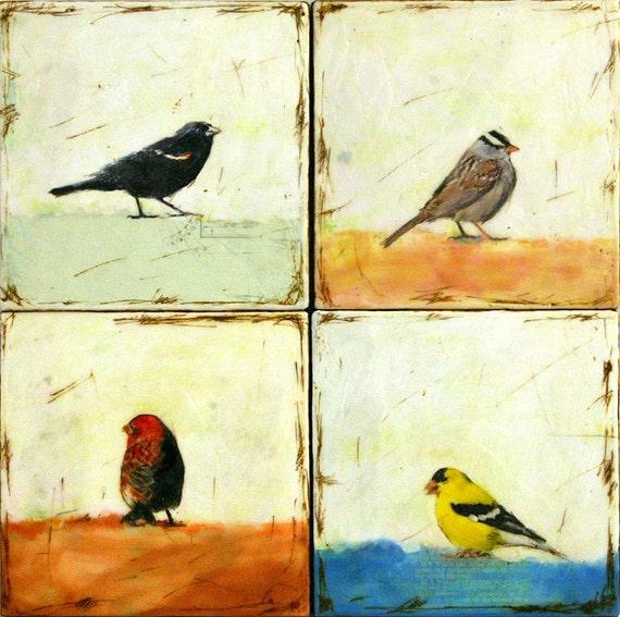 The bird watcher - encaustic paintings  SET of 4