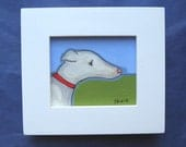 Miniature Greyhound painting, original acrylic, red collar, dog, pet lover, stocking stuffer