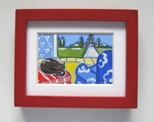 Miniatuare Black Cat and Eiffel Tower Painting, original, OOAK, red frame, french blue, country french