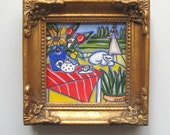 Miniature White Cat in Paris Painting, Eiffel Tower, Teapot, Sunflowers, Tulips, red tablecloth, Country French, French Blue