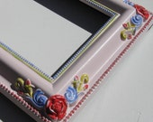 Pink Floral Picture Frame, Free Shipping, Handpainted, shabby chic, 6 x 8, baby's room, shower gift