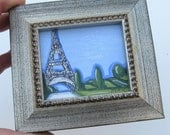 Miniature Eiffel Tower Painting, Paris, Country French, Shabby Chic, silver frame