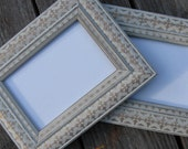 Pair of White Washed Wood Photo Frames, 7x9, Gold design, French home decor, shabby chic, rustic, stenciled