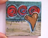Valentine's Miniature Heart Painting Original Acrylic on a mini Canvas