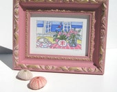 Original Cat and Tulips Painting, Framed 8x10, beach cottage decor, pink frame, sailboat, nautical, roses, Fleur di Lis