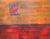Orange and Red Abstract Painting,  Free Shipping,  original, OOAK, modern home decor, acrylic, 24x24, contemporary