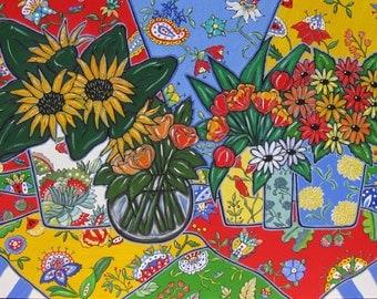 Sunflowers Acrylic Still Life, Original painting on Canvas