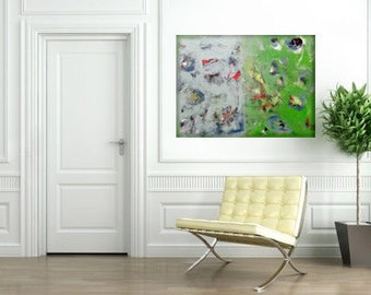 Green Abstract Acrylic Painting on canvas, large wall decor, Modern home, contemporary wall hanging