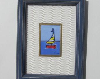 "Original acrylic sailboat painting, blue distressed frame, beach cottage decor, 6 1/2"" x 8 1/2"", nursery decor, nautical art, gift idea"