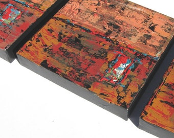 Rust Acrylic Abstract Paintings, Original Triptych with rustic background, Canvas grouping, wall decor