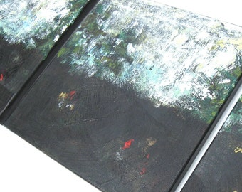 SALE, Set of 3 Black Acrylic Abstract Landscape Paintings, Triptych, Modern Home decor, Original on Canvas