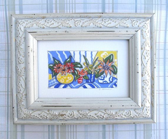 French Country Still life Painting, original, Free Shipping, summer, daisies, tulips, sunflowers, poppies, yellow, distressed frame