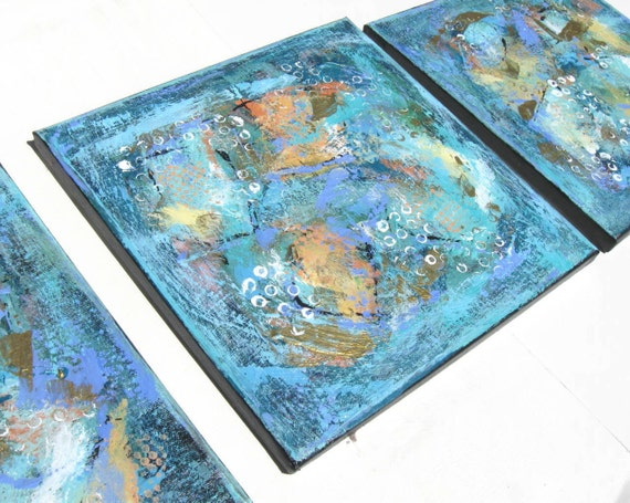 SALE, Turquoise Acrylic Abstract Paintings, Canvas Triptych, Original Art