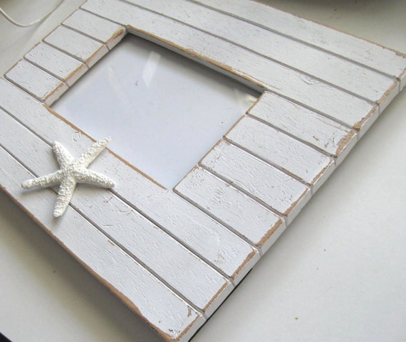 Cottage Beach Photo Frame, Whitewashed Wood, Starfish Photo Frame, beach cottage decor, distressed, distressed, nautical, shabby chic