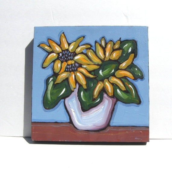 Original Sunflower Painting, acrylic, Country French decor, OOAK, French blue, impressionist,