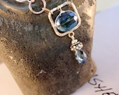 Fall Sale midnight sky sterling silver blue quartz wire wrapped necklace