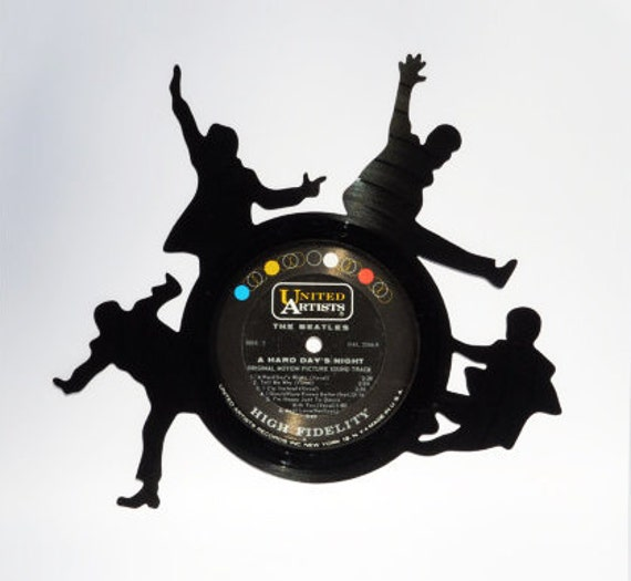 Beatles Silhouette Made From A Vinyl Record