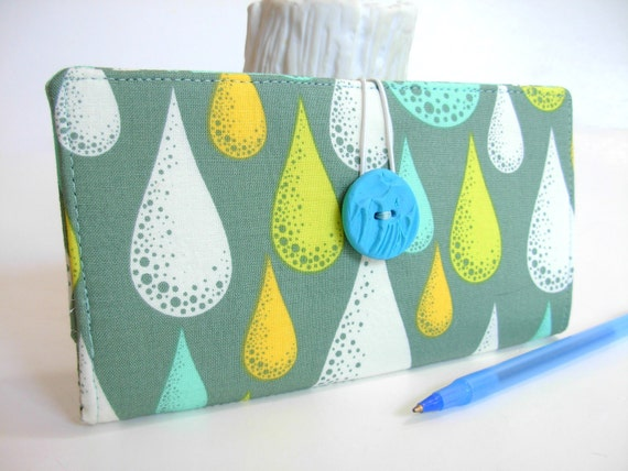 CHECKBOOK COVER Fabric Handmade Wallet Slate Gray Aqua Rain Dew Drops