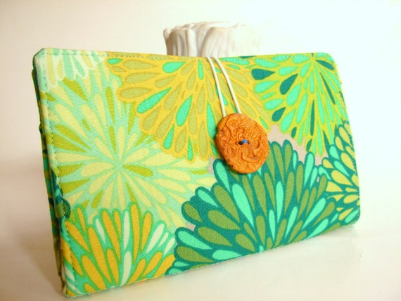 Handmade Tampon and Pad Clutch Lime Green Aqua Chartreuse Yellow Flowers Fabric Privacy Clutch - Lime Chysanthemums