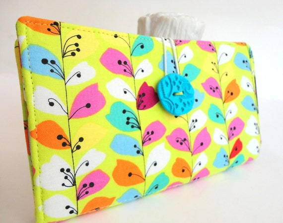 Tampon and Pad Clutch Lime Green Pink Aqua Floral Handmade Fabric Privacy Wallet - Lime Vines