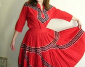 "1950's two piece, 34"" bust, 26"" waist, red cotton dress."