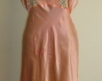 1940's Peach Rayon Satin Nightgown