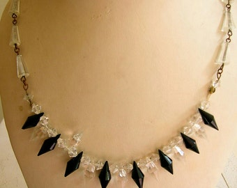 1930's Clear crystal and black glass necklace on a brass chain