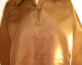 1900's Bronze colored silk faille blouse, with straight front and raised gathered back