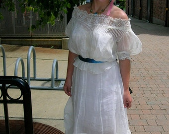 1905 Two Piece White Organdy and Lace Afternoon Tea or Wedding Dress