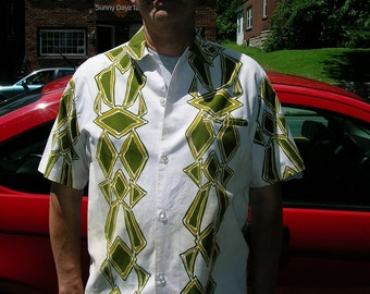 "1950's 15 1/2"" neck, cotton printed sport shirt"