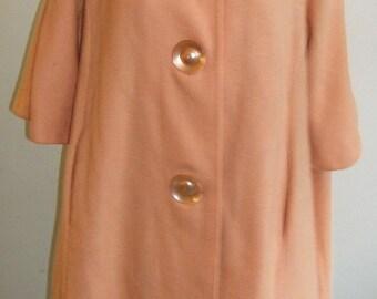 1950's Large tangerine trapeze coat